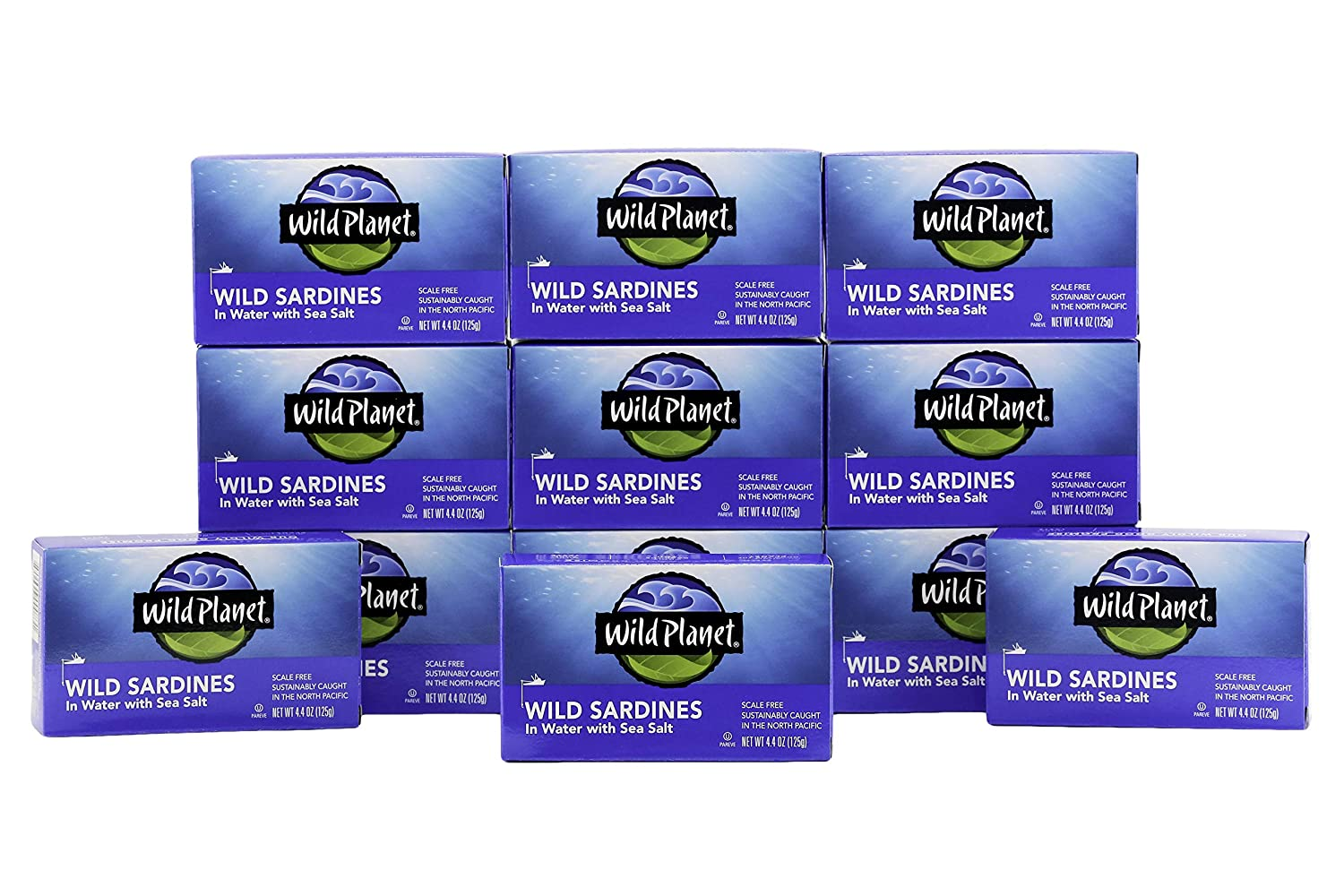 Wild Planet Wild Sardines in Water with Sea Salt, Keto and Paleo, 4.4 Ounce (Pack of 12)