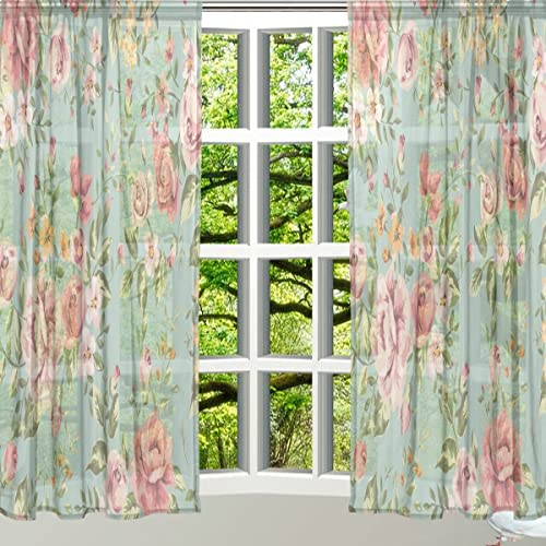 ALAZA Window Sheer Curtain Panels,Christmas Decoration Vintage Shabby Chic Floral Q43,Door Window Gauze Curtains Living Room Bedroom Kid Office Window Curtain 55x84inch Two Panels Set