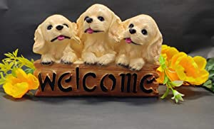 Sawcart Welcome Statue Figurine of 3 Cute Brown Puppy Dog Animal Sculpture for Indoor/Outdoor, Garden Yard, Patio Decor