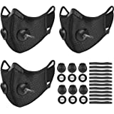 UBRU 3 Set Sports Cycling Masks with Activated Carbon Filter, 6 Breathing Valve and 12 Soft Foam Padding for Women Men…