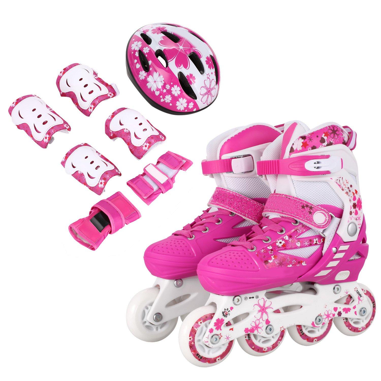 Oanon キッズ 調節可能なインラインスケート、子供用調節可能なインラインスケート、光るホイール、ヘルメット/肘パッド/膝パッド付き Type 1: ピンク Medium