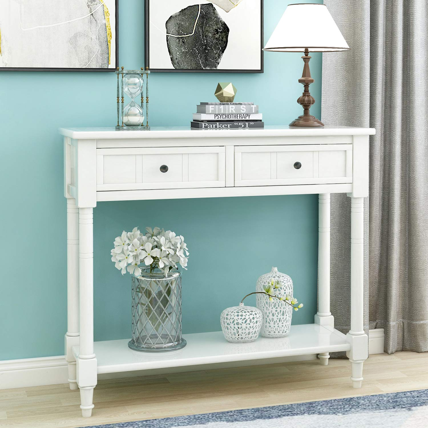 P PURLOVE Entryway Table Sideboard Wooden Sofa Table with 2 Drawers and Bottom Shelf (Ivory White) by P PURLOVE