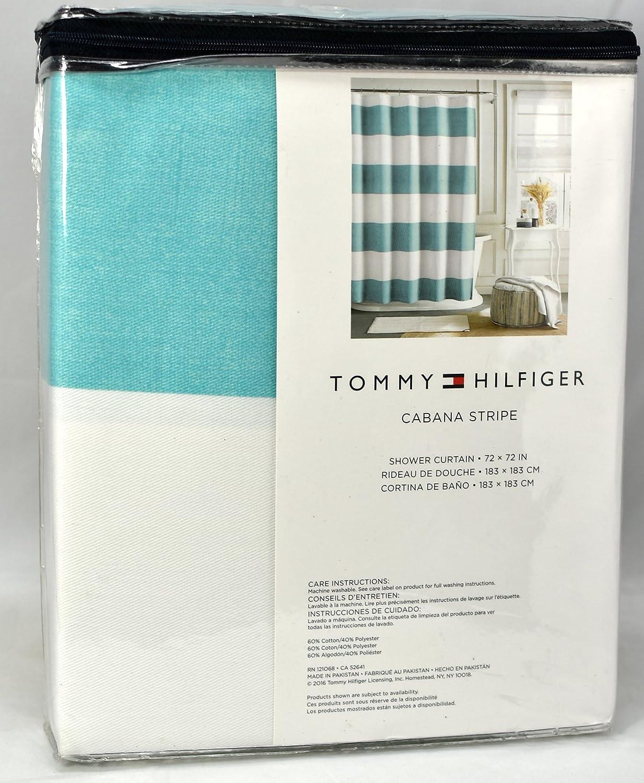Amazon.com: Tommy Hilfiger Cotton Shower Curtain Wide Stripes ...