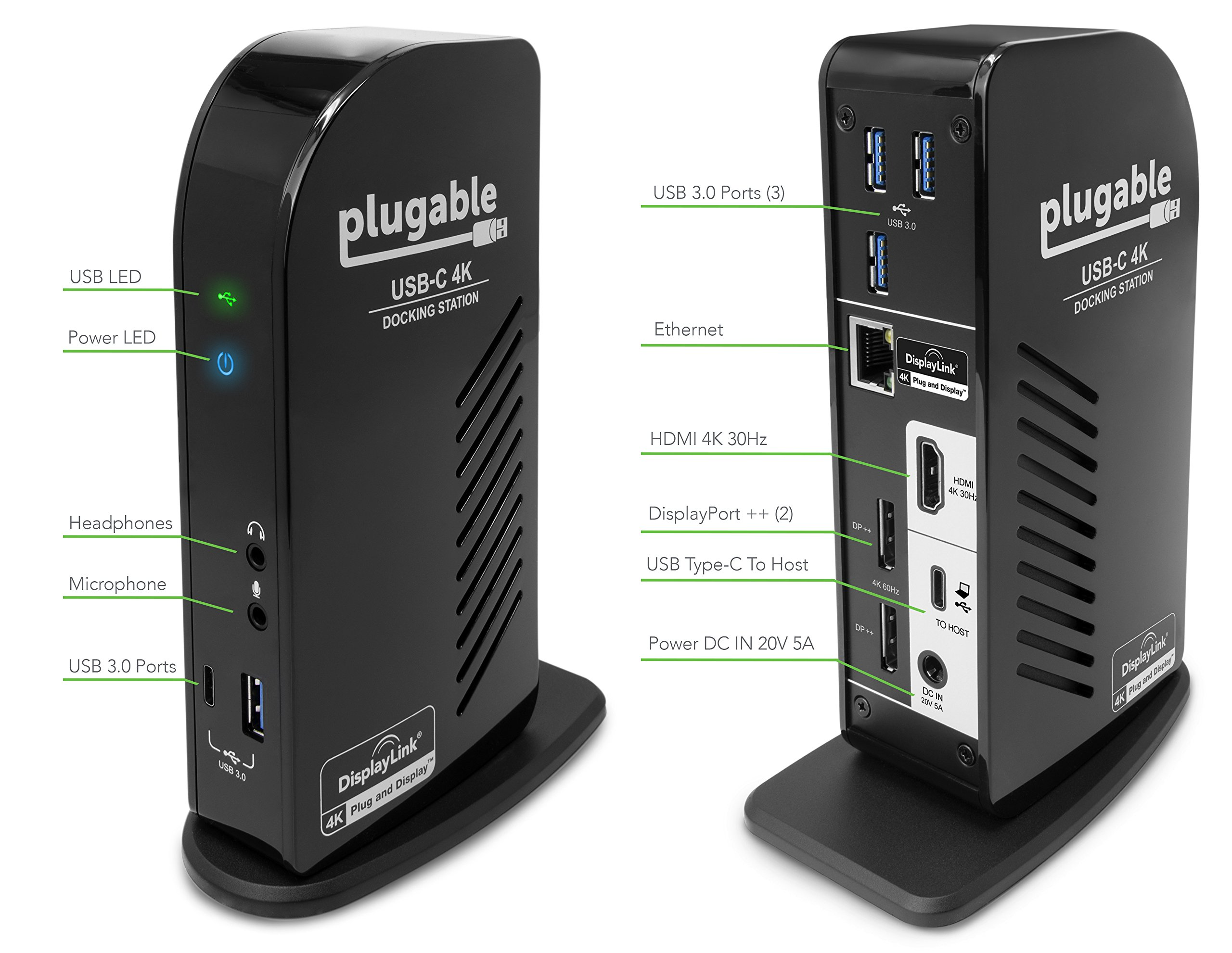 Plugable USB-C 4K Triple Display Docking Station with Charging Support for Specific Mac & Windows USB Type-C / Thunderbolt 3 Sysems (1x HDMI & 2x DisplayPort++ Outputs, 60W USB PD) by Plugable (Image #3)