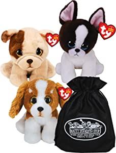 TY Beanie Babies Dogs Barker, Houghie & Portia Gift Set Bundle with Matty's Toy Stop Storage Bag - 3 Pack