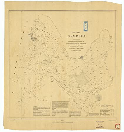 Amazoncom Vintography 8 X 12 Inch 1851 Us Old Nautical Map Drawing - Columbia-river-map-us