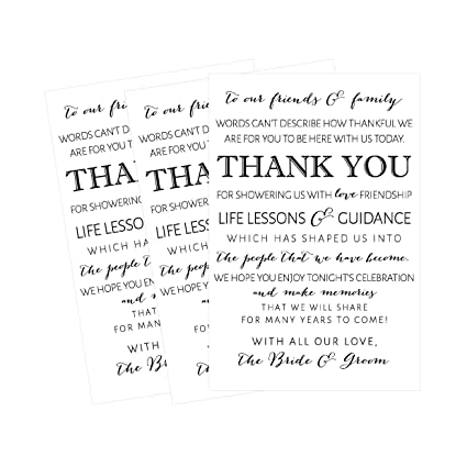 Amazon Com 50 Wedding Thank You Place Cards Rehearsal Dinner