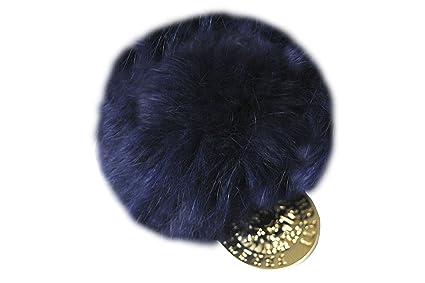 FERETI Pompon de pelo de conejo Azul oscuro para bolsos o ...