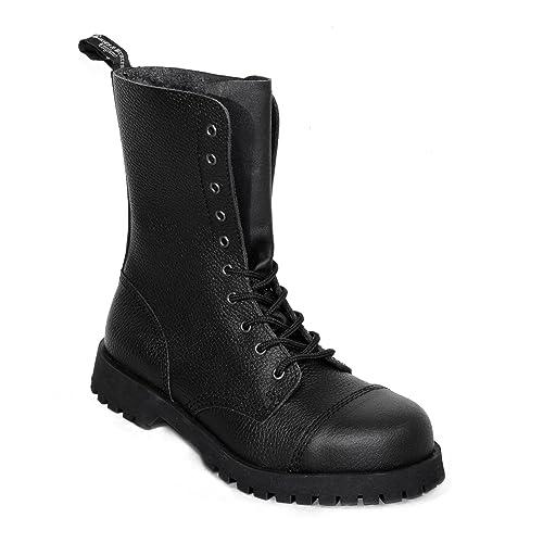 Boots And Braces 8-Loch Schwarz Rangers Stahlkappe Leder Stiefel Schuhe Black