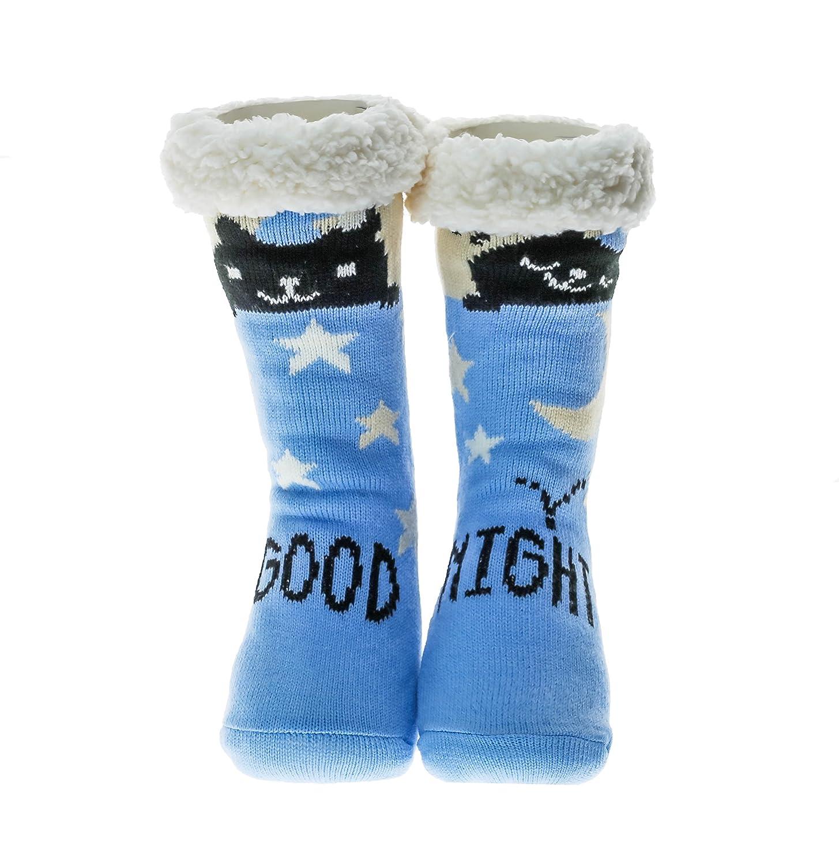 Slipper Socks Women Girls Premium Soft Home Socks Size 4 5 6 7 8 - Novelty Owl Dog Cat Fluffy and Furry Slipper Sock - Beautiful Present - NON SLIP