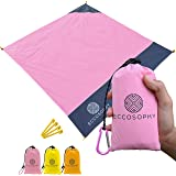 ECCOSOPHY Sand Proof Beach Blanket - 100% Waterproof Picnic Blanket 60x55 - Outdoor Compact Pocket Blanket - Lightweight Ground Cover for Hiking, Camping, Festivals, Sports, Travel- with Bag & Stakes
