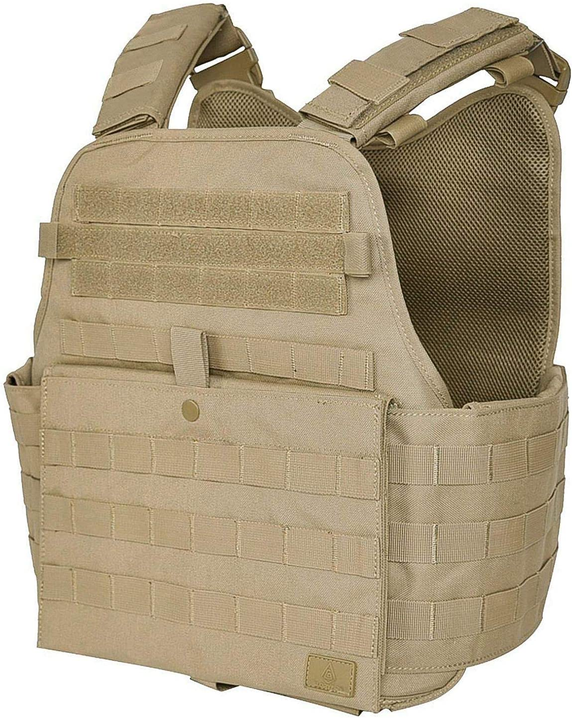 This is an image of a tactical vest in brown shade, with front map pocket in snap closure, and hook and loop feature.
