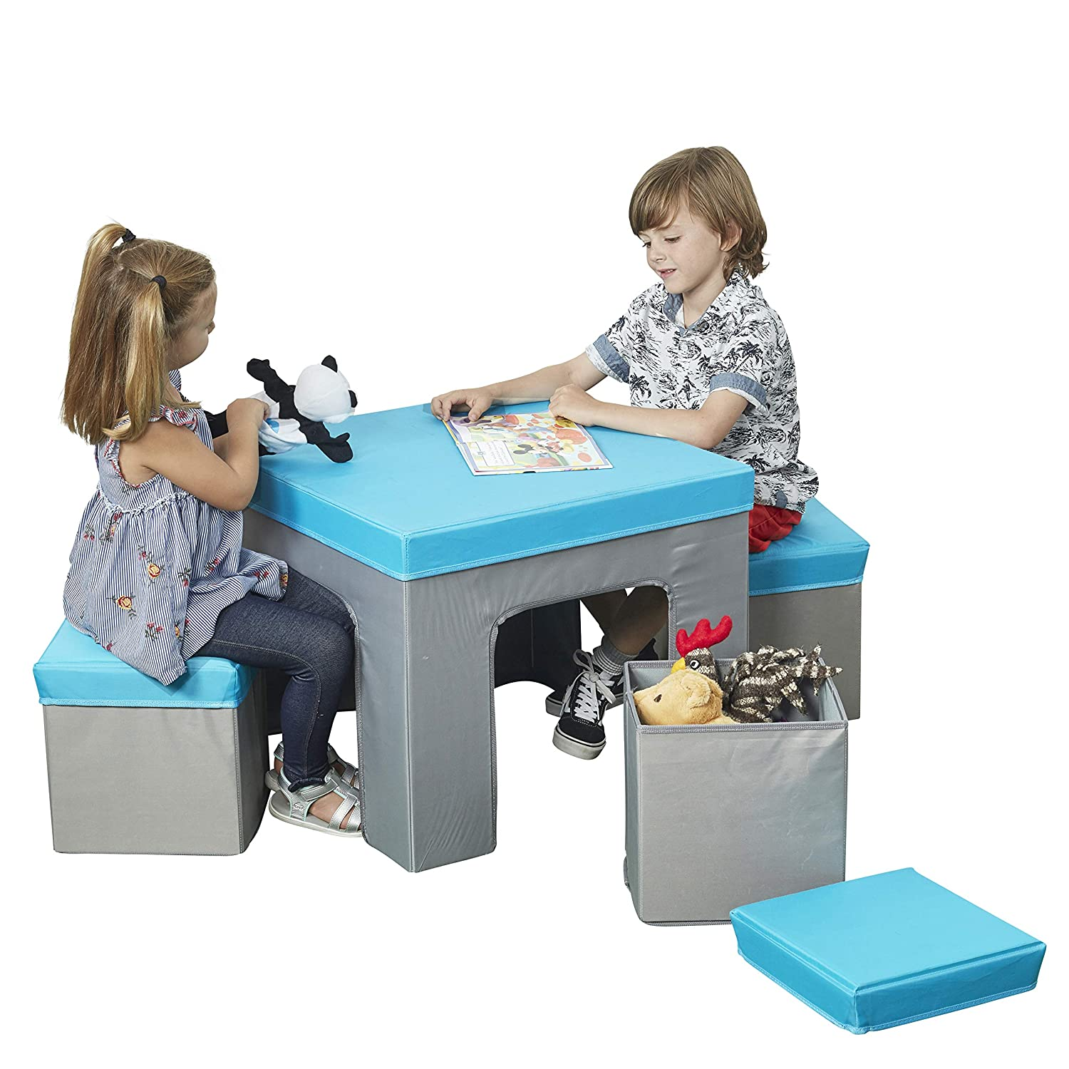 Sensational Ecr4Kids Multipurpose Folding Kids Table And Chair Set 5 Piece Furniture Set With Fabric Storage Ottomans Easy To Assemble Blue Grey Beatyapartments Chair Design Images Beatyapartmentscom