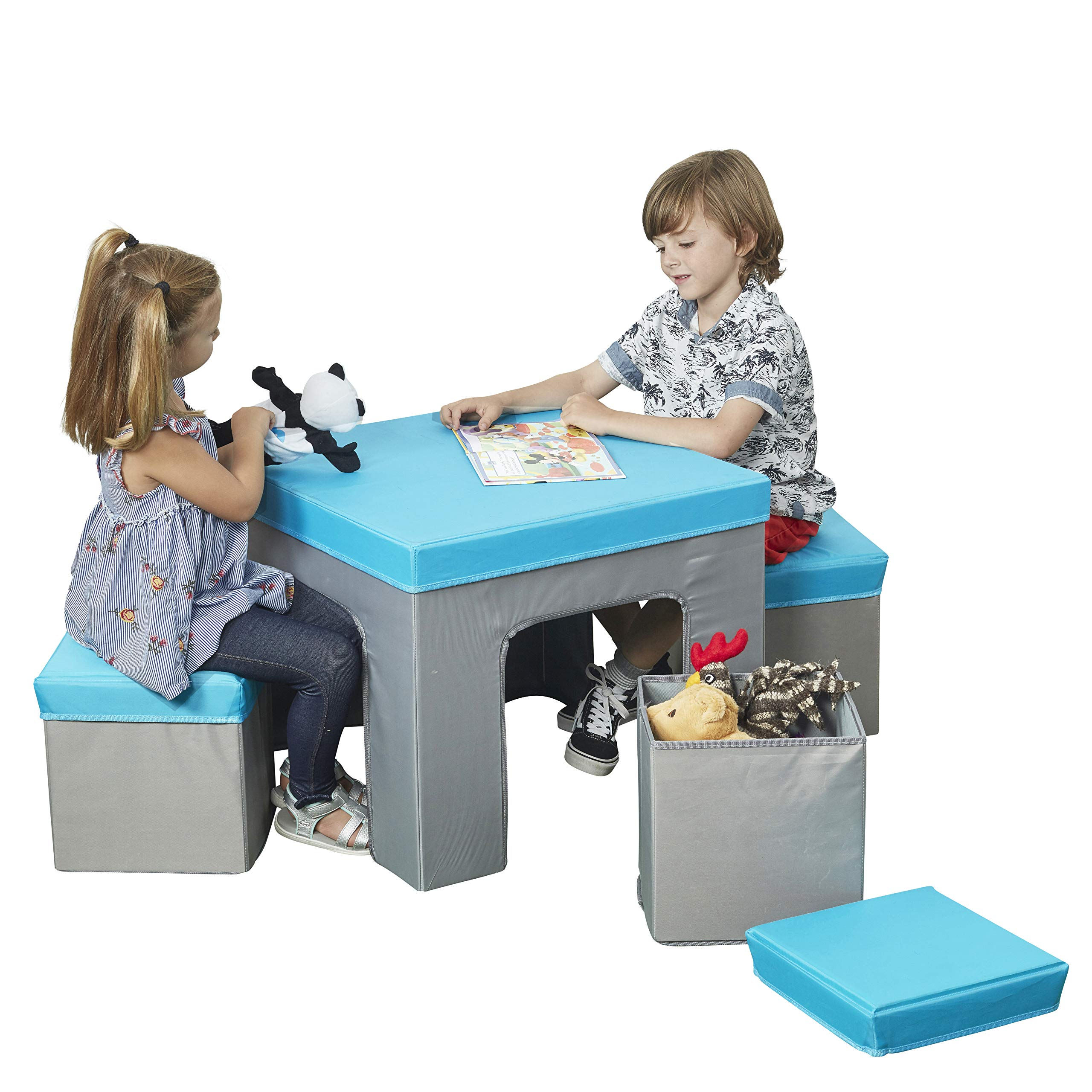 ECR4Kids Multipurpose Folding Kids Table and Chair Set, 5-Piece Furniture Set with Fabric Storage Ottomans, Easy to Assemble, Blue/Grey by ECR4Kids