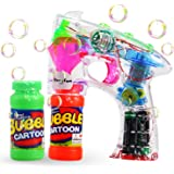 TheeFun Transparent Bubble Gun Shooter Blower Machine with LED Lights,Sound Effect,Batteries, and Extra Bottle Refill