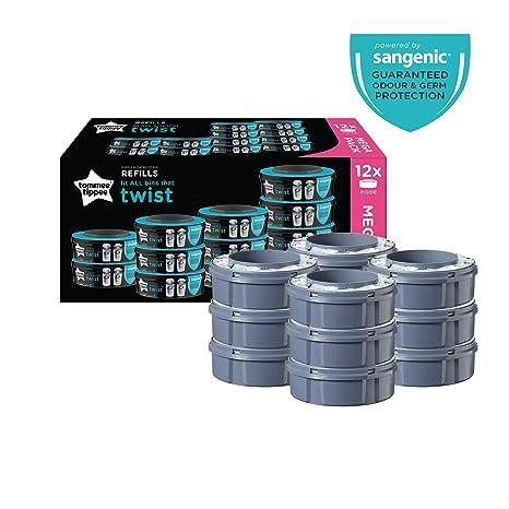 Tommee Tippee Sangenic Recambios Sistema avanzado para desechar pañales Twist & Click, paquete de 12 (compatibles con los contenedores Sangenic TEC y ...