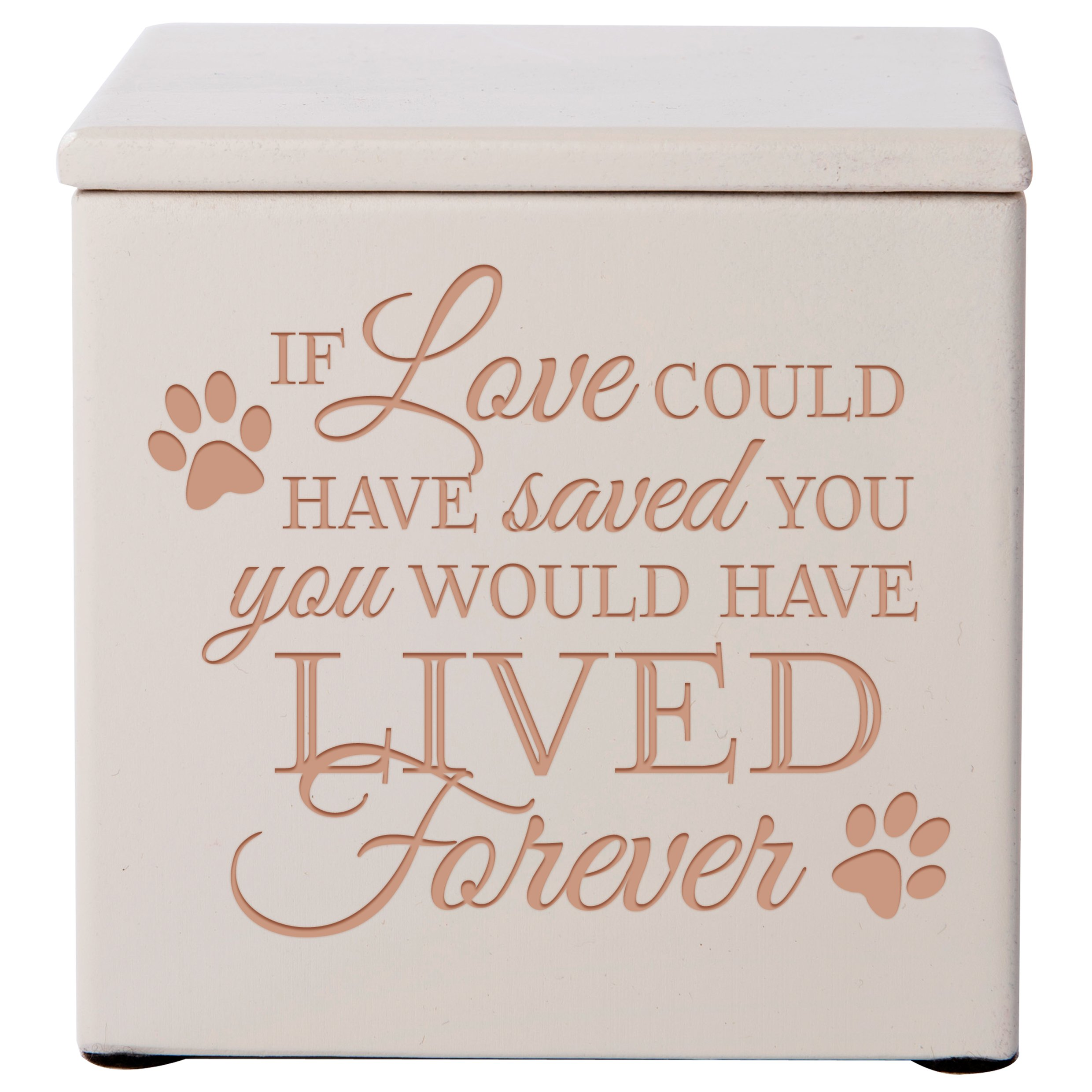 Cremation Urns for Pets Small Memorial Keepsake Box for Dogs and Cats, Urn for pet Ashes If Love Could Have Saved You You Would Have Lived Forever Holds Small Portion of Ashes (Ivory)