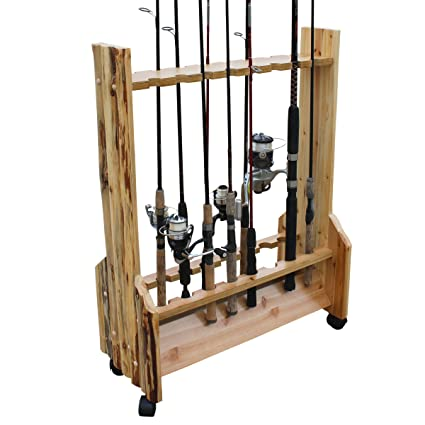 Ordinaire Rush Creek Creations Rustic Double Sided Rolling 16 Fishing Rod Storage Rack
