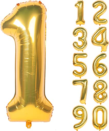 40 inch,Foil Digital Balloons for Birthday party Decorations LLParty Gold Foil Balloons Number 8