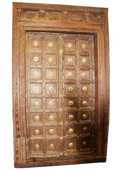 Mogul Interior Indian Antique Brass Medallion Carved Fish Haveli Double  Doors - Amazon.com: Mogul Interior Indian Antique Brass Medallion Carved