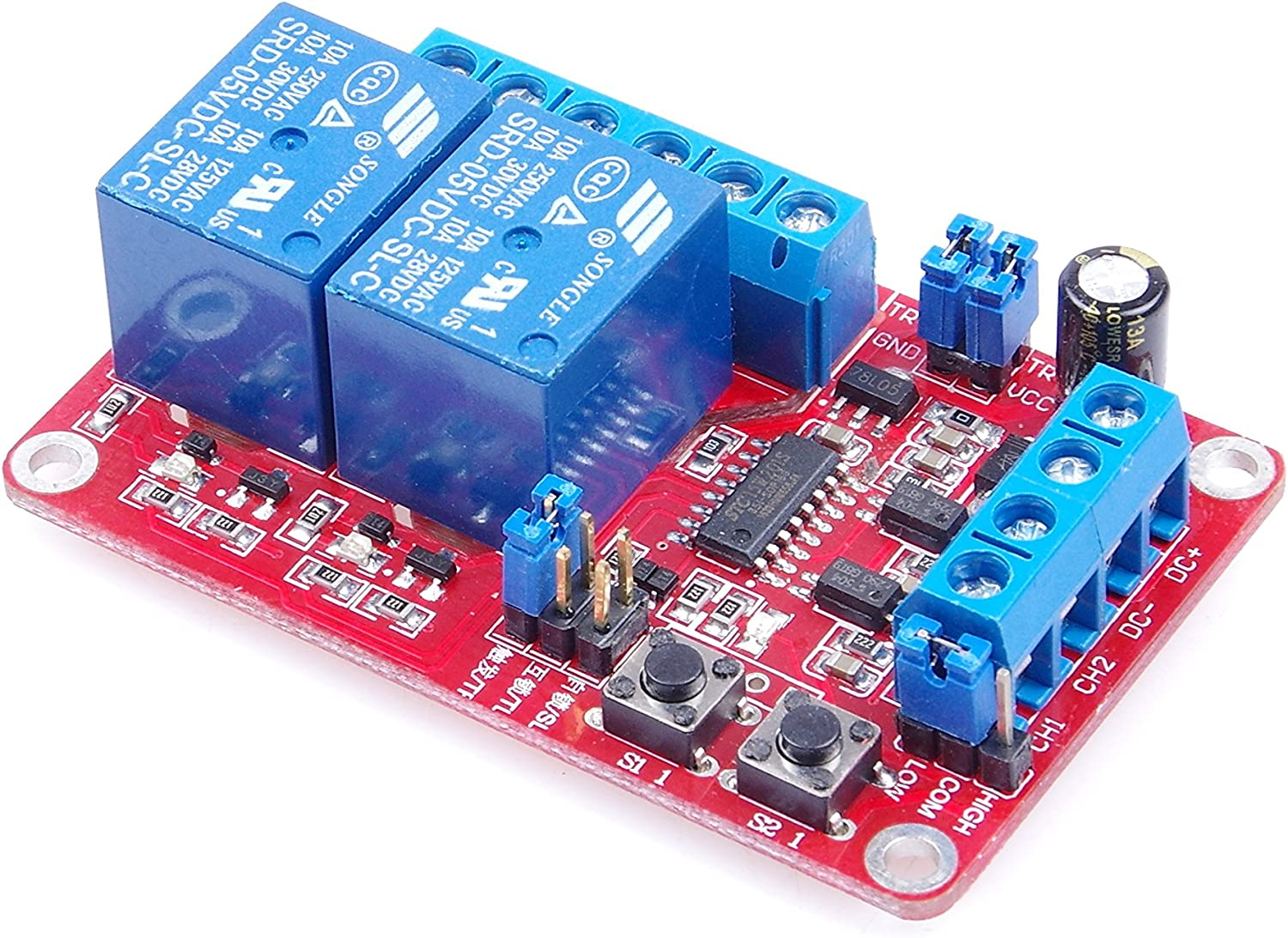 LM YN 2-Channel Relay Control Module Interlock Self-Lock Trigger 3 in 1 Relay Module High Low Level Trigger with Indicators for Household Appliances Control PLC Industrial Control Arduino (5V): Home & Kitchen