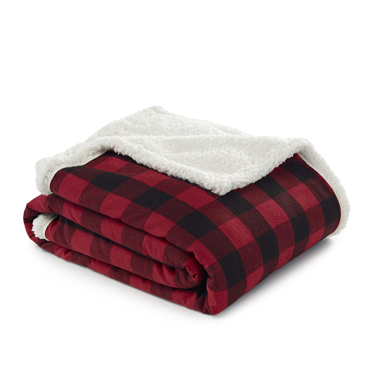"Eddie Bauer Cabin Plaid Flannel Sherpa Throw, 50"" x 60"" Red"