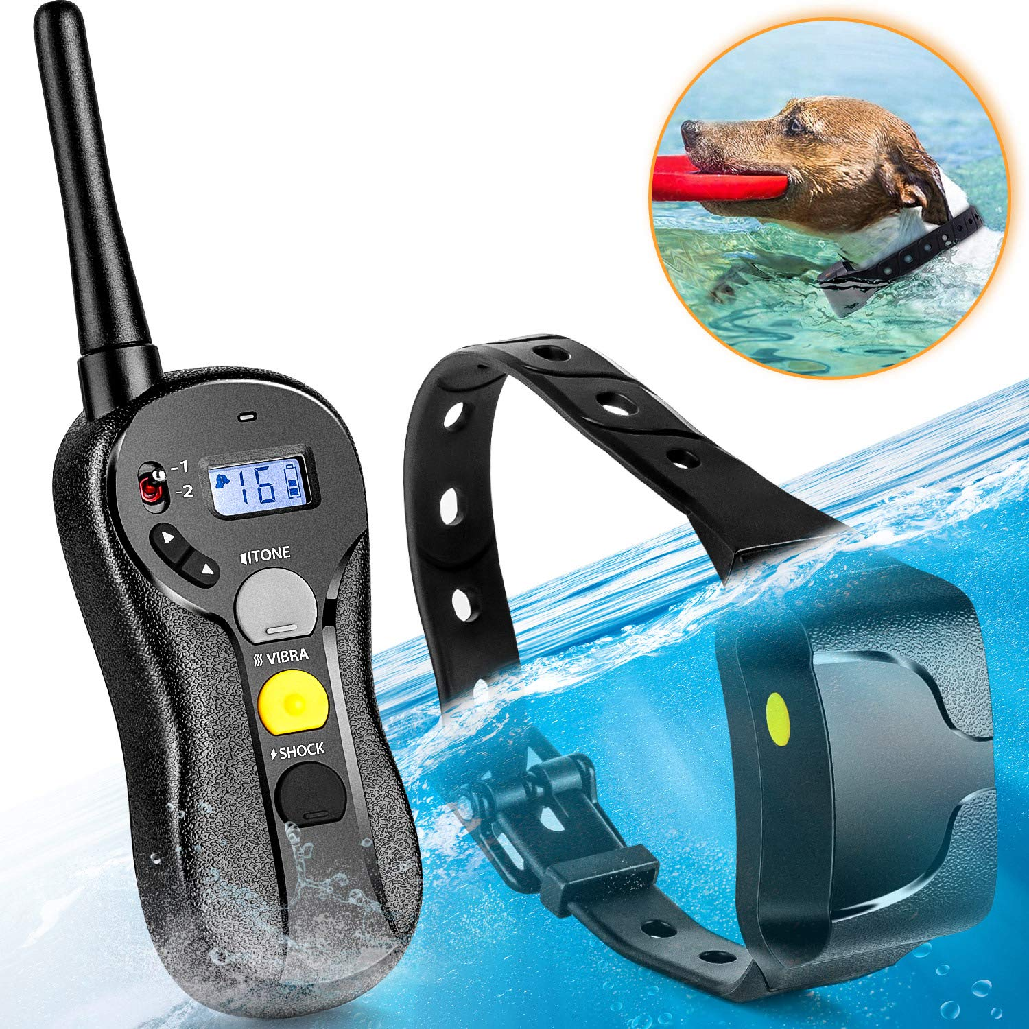 Shock Collar for Dogs - IPX7 Waterproof Dog Shock Collar with IPX5 Water Resistant Remote 3000 Feet Range No Harm Dog Training Collar Fast Training Effect for Small Medium Large Dogs by PATPET-US