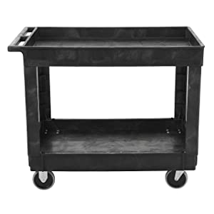 "Rubbermaid Commercial Utility Cart, Lipped Shelves, Medium, Black, 4"" Non-Marking Swivel Casters, 300 lb Capacity (FG9T6700BLA)"