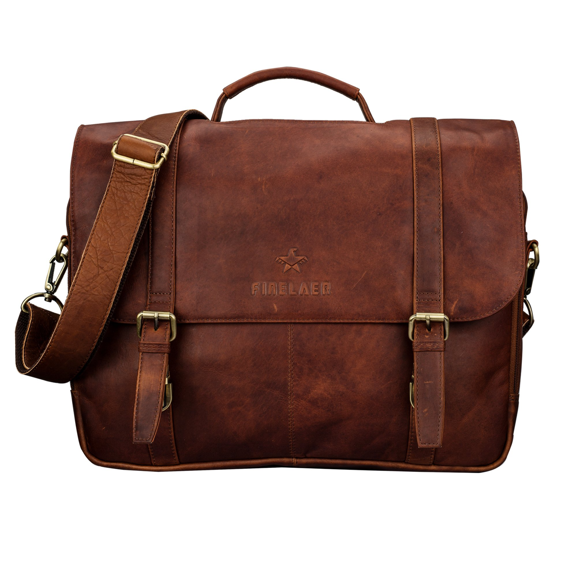Genuine Leather Flap-Over Laptop / Computer Shoulder Strap Briefcase Messenger Bag Brown | Finelaer