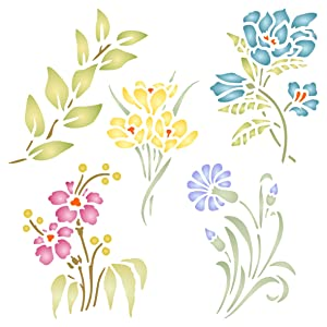 """Flower Set Stencil - (size 10.5""""w x 10.5""""h) Reusable Wall Stencils for Painting - Best Quality Decor Ideas - Use on Walls, Floors, Fabrics, Glass, Wood, and More…"""