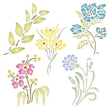 Juego de flores plantilla para estarcir - reutilizable de pared plantillas para pintar - mejor calidad