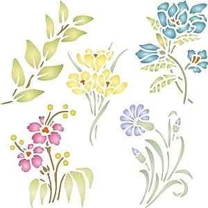Dizie Juego de 6 plantillas para impresi/ón de plantillas de flores en pulverizaci/ón de plantillas manualidades al azar para proyectos de pintura