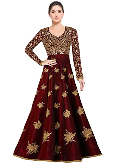 61a9a273d01 Siddeshwary Fab Women s Bangalore Silk Anarkali Gown (Red  semi  stitched Free Size  Amazon.in  Clothing   Accessories