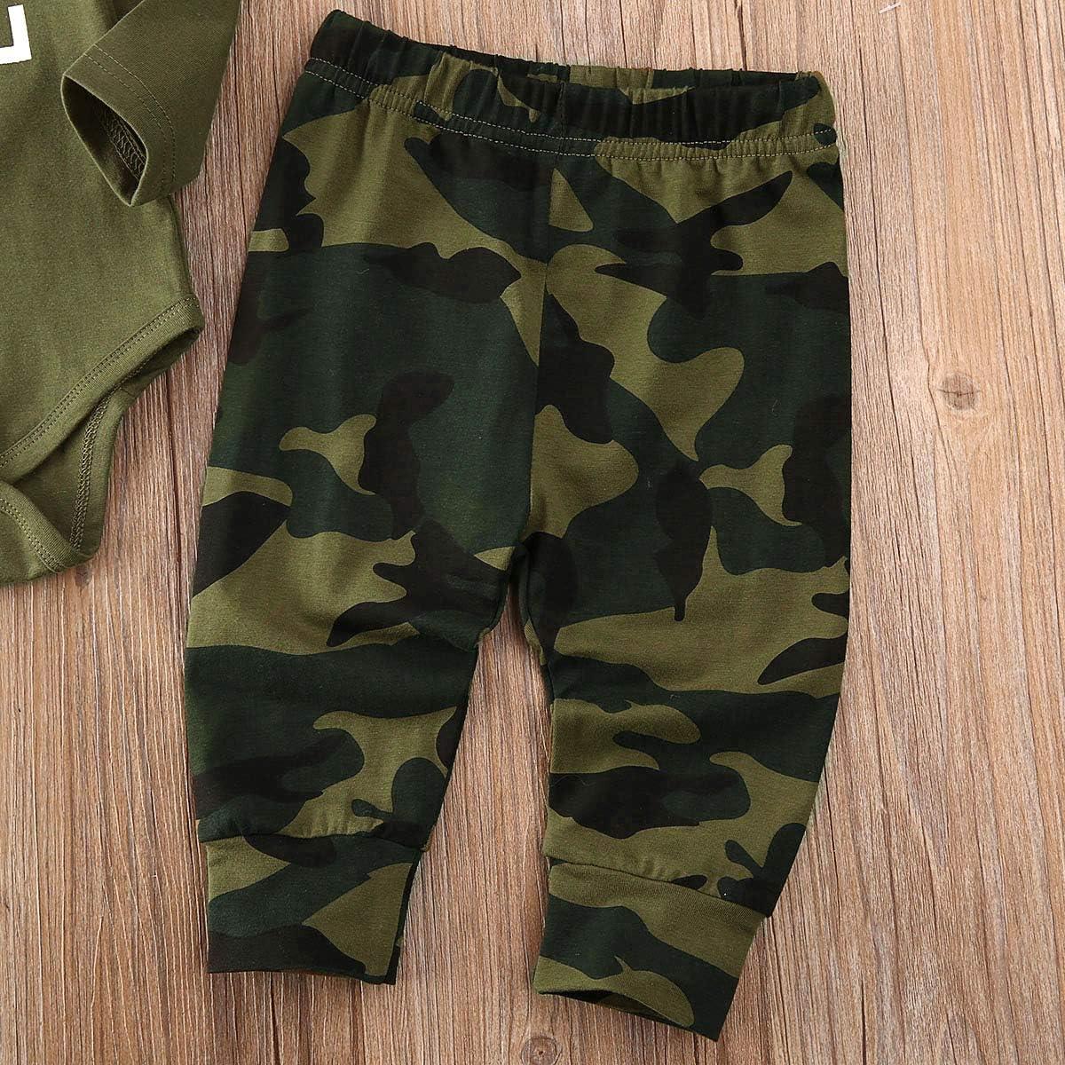Newborn Baby Boys Mama/'s Boy Romper Tops Camo Pants 3PCS Outfits Clothes Set