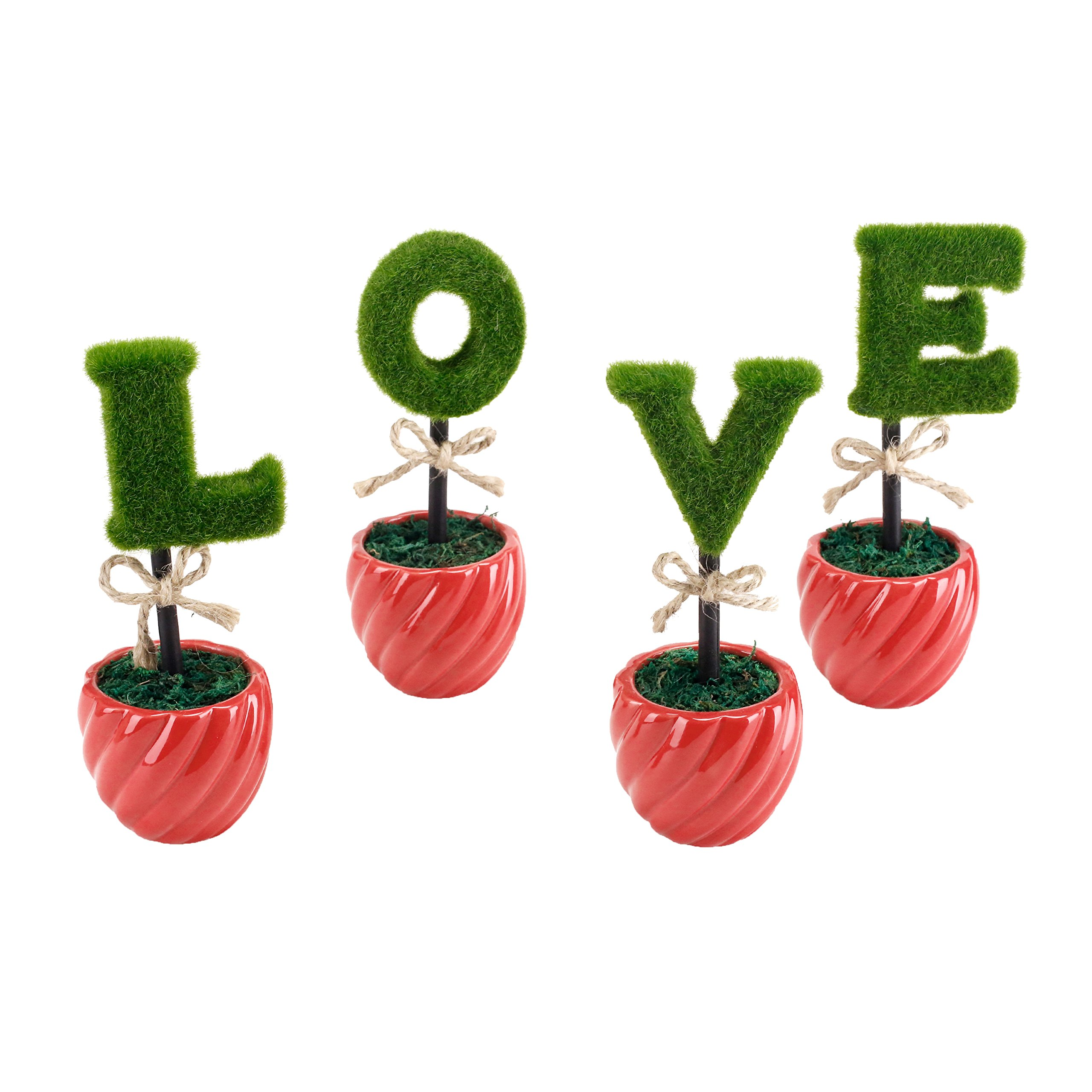 MyGift LOVE Artificial Sculpted Topiary Set, Decorative Faux Hedge Letters with Red Ceramic Pots by MyGift