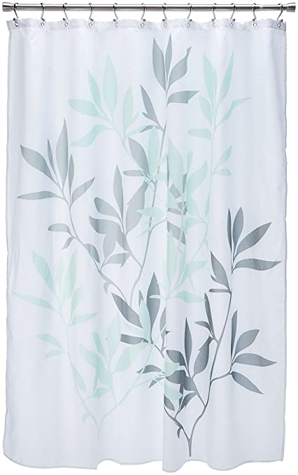 Amazon InterDesign Leaves Fabric Shower Curtain Water