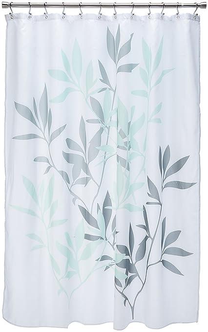 InterDesign 35603 Leaves Fabric Shower Curtain