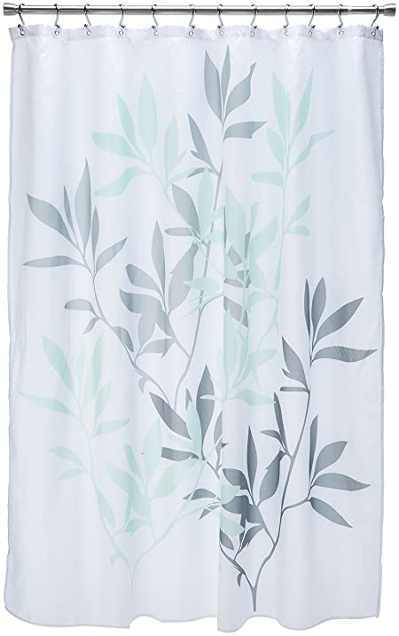 Amazon.com: InterDesign Leaves Shower Curtain, 72 by 72-Inch, Gray ...