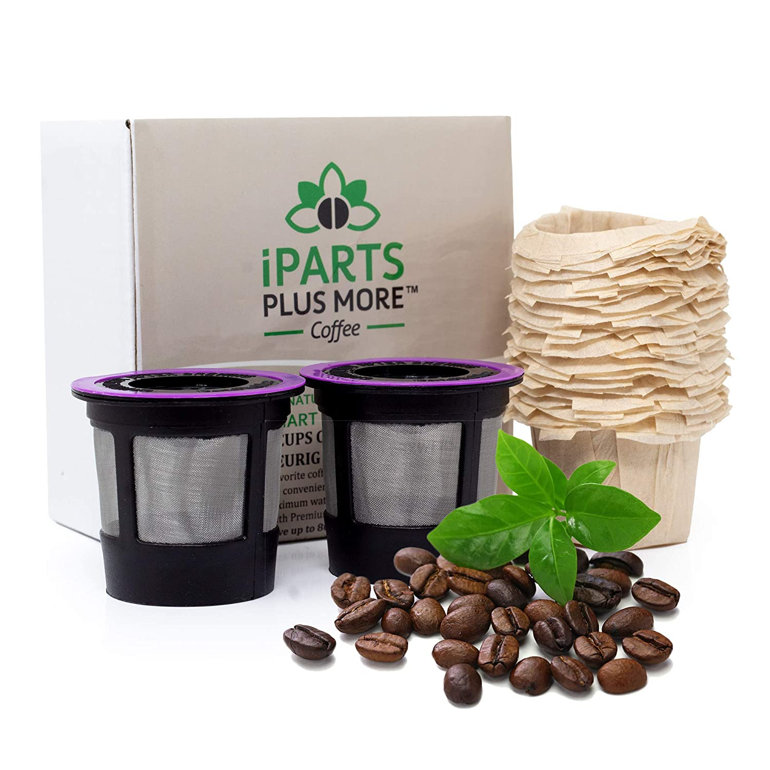iPartsPlusMore Reusable K-Cup Filter Pods with Compatible Natural Paper Coffee Filter Inserts (2 pack pods + 25 ct filters)