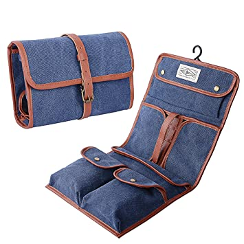 5ed66dc156d9 Amazon.com   Hanging Toiletry Bag Vintage Canvas Wash Shower Organizer  Travel Storage Folding Dopp Kit Portable Shaving Bathroom Bag(Blue+Brown)    Beauty