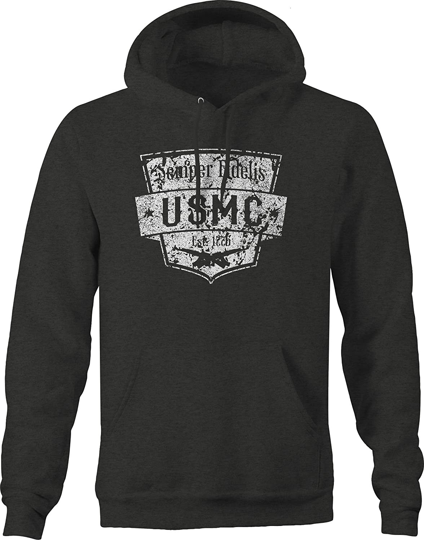 Lifestyle Graphix Distressed Semper Fideli USMC EST 1775 US Marines Military Hoodies for Men