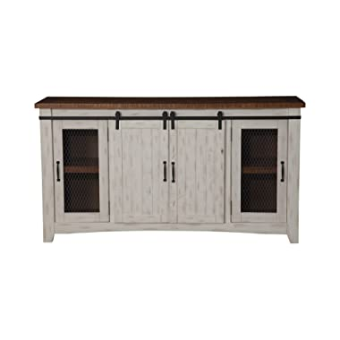 Martin Svensson Home 90906 Taos 65  TV Stand, Antique White & Aged Distressed Pine, Antique White and Aged Distressed Pine
