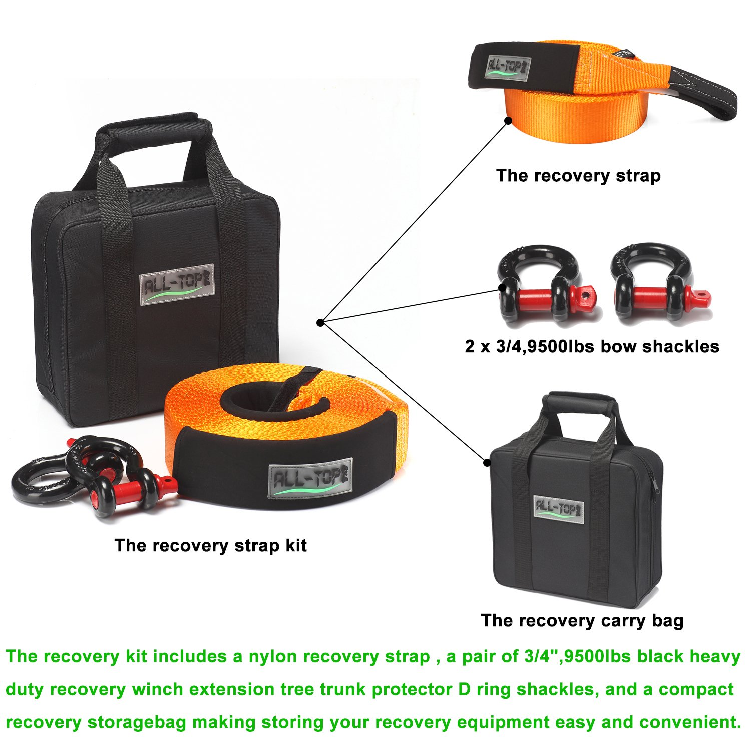 A Must-Have KIT ALL-TOP Extreme Duty Tow Strap Recovery Kit : 4 inch x 20 ft 3//4 Extreme Duty D Ring Shackles 42,500 lbs 2pcs + Storage Bag 100/% Nylon and 22/% Elongation Snatch Strap