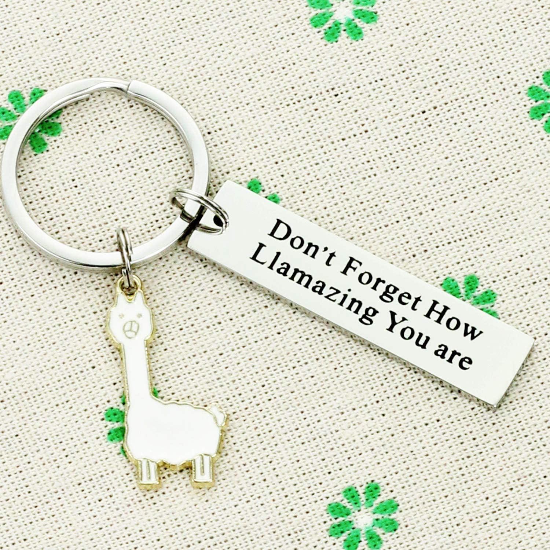 Hopyee Llama Keychain Lama Gifts for Women from Peru Be a Llama Alpaca Jewelry Inspiring Inspired Motivational Keychains for Women