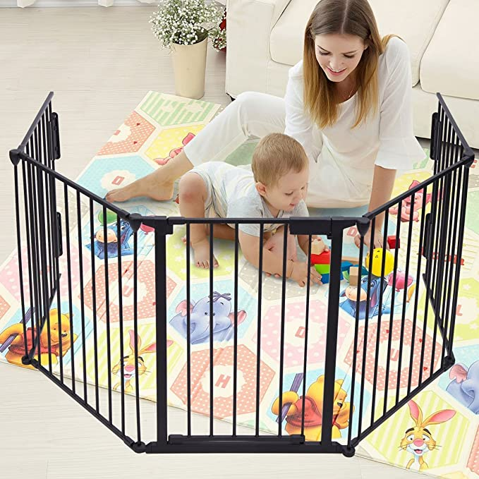 bonnlo 73 inch metal fireplace fence adjustable 3 panel baby safety gate play yard for toddlerpetdogcat christmas tree - Baby Gate For Christmas Tree