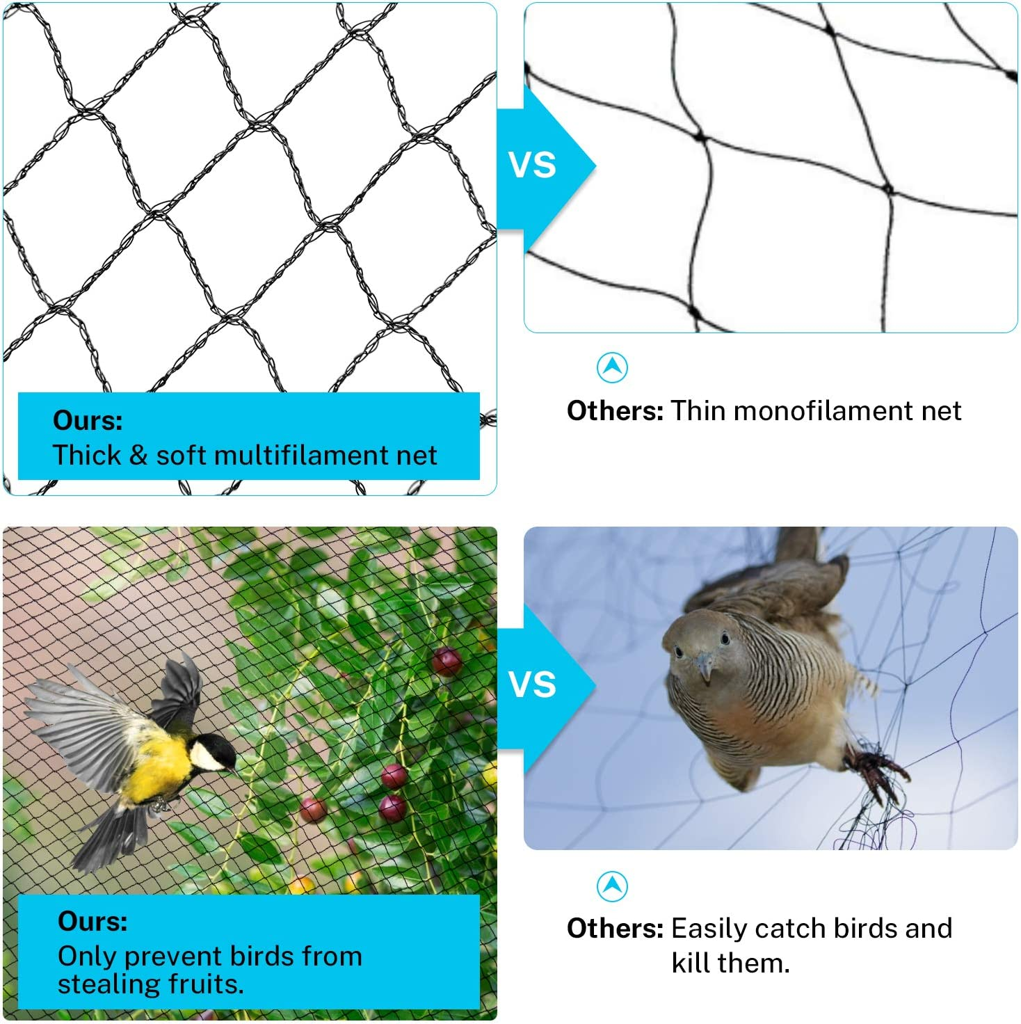 Reusable Garden Net Protects Plants and Fruit Trees Pond Net Garden Protection Against Bird Dear Animal 0.7-inch Square Mesh Sunkorto 7.5x65 FT Bird Netting
