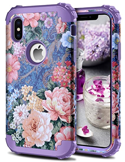 Amazon Com Honeyake Case For Iphone Xs Iphone X Case Flowers