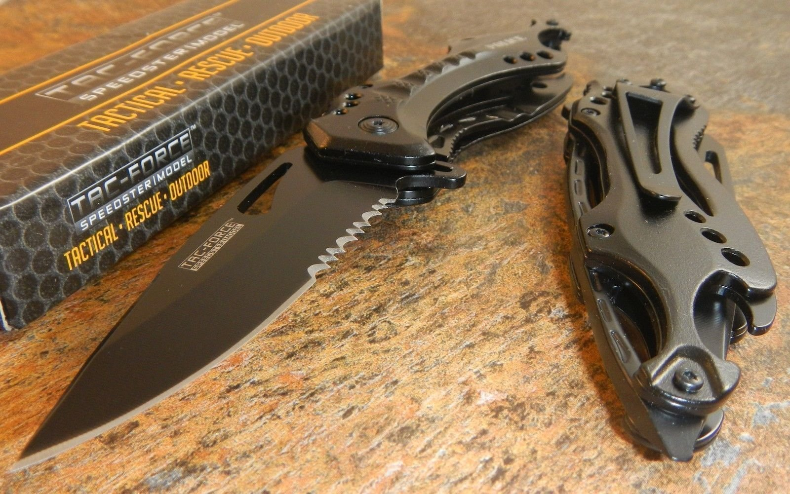 Tac Force Spring Assisted Open Police Black Bottle Opener