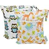 Yarra Modes 2 pcs Baby Wet and Dry Cloth Diaper Bags (Giraffe and Owls)