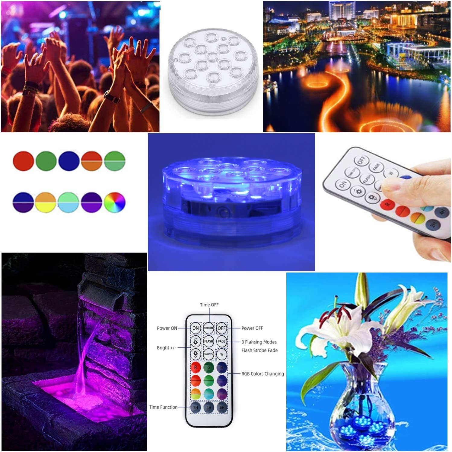 Waterproof Underwater Light Submersible LED Lights with Remote Control Suckers Hot Tub Lights Multi Colors RGB Changing Pond Lights Underwater Pool Lights,Bath Spa Lights for Parties,Aquarium,Xmas